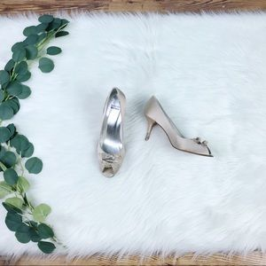 Stuart Weitzman | Champagne Peep Toe Heels, Size 9